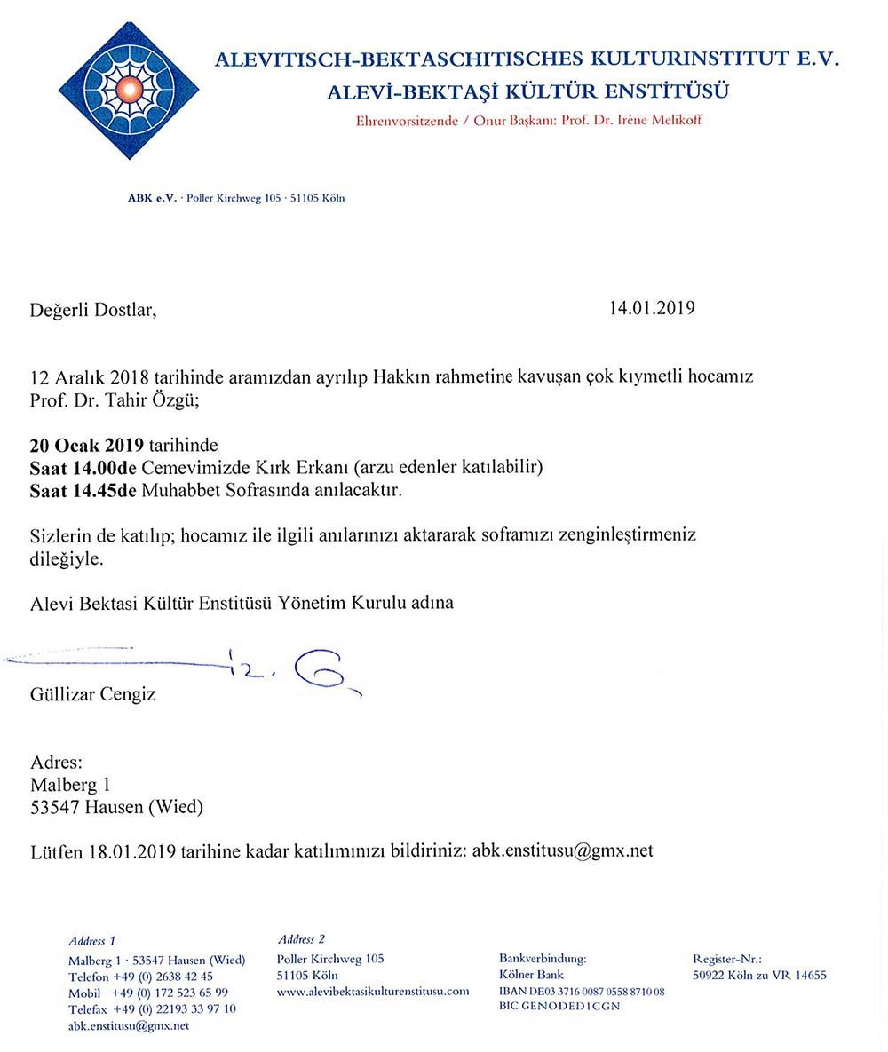 Davet – Prof. Dr. Tahir Özgü